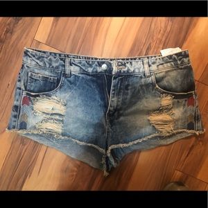 Pull and Bear Blue Jean Shorts